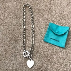 Vintage Tiffany and co Heart Tag Toggle Necklace